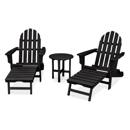 Cape Cod 3-Piece Ultimate Adirondack Set in Charcoal Black