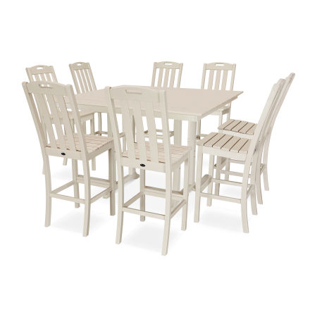 Yacht Club 9-Piece Farmhouse Side Chair Bar Set in Sand Castle