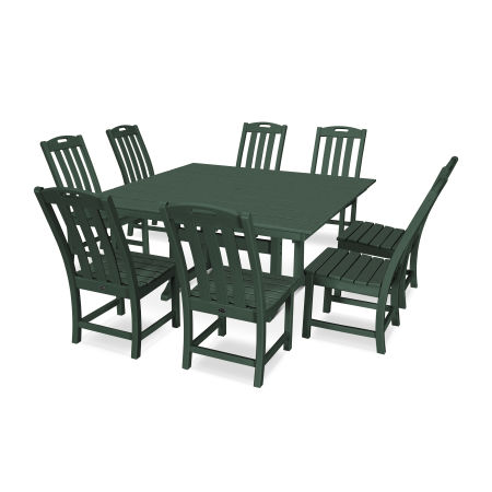 Yacht Club 9-Piece Farmhouse Side Chair Dining Set in Rainforest Canopy
