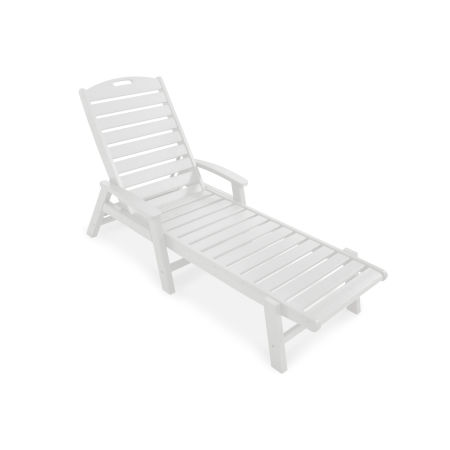 Yacht Club Chaise with Arms - Stackable in Classic White