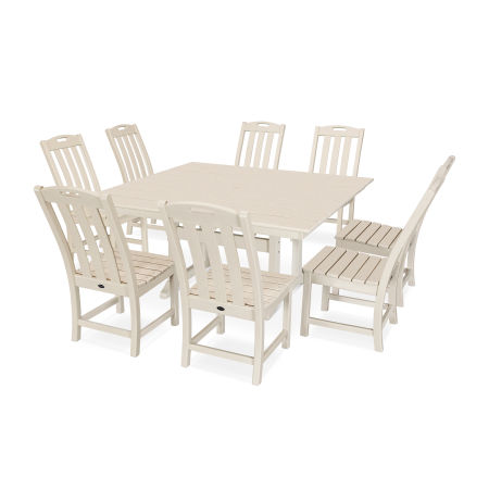 Yacht Club 9-Piece Farmhouse Side Chair Dining Set in Sand Castle