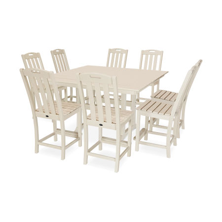 Yacht Club 9-Piece Farmhouse Side Chair Counter Set in Sand Castle