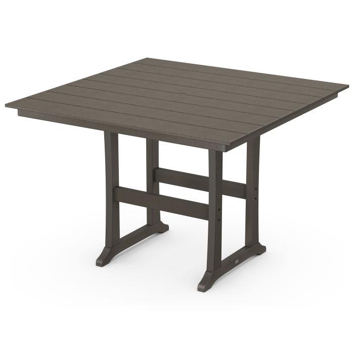 "Farmhouse Trestle 59"" Bar Table in Vintage Finish"