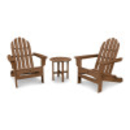 Cape Cod Folding Adirondack Set with Side Table in Tree House