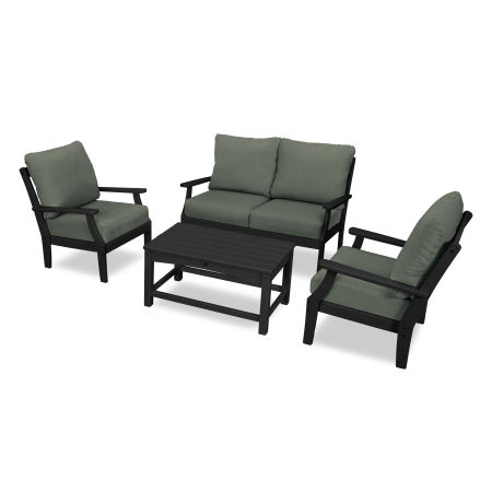 Yacht Club 4-Piece Deep Seating Chair Set in Charcoal Black / Cast Sage