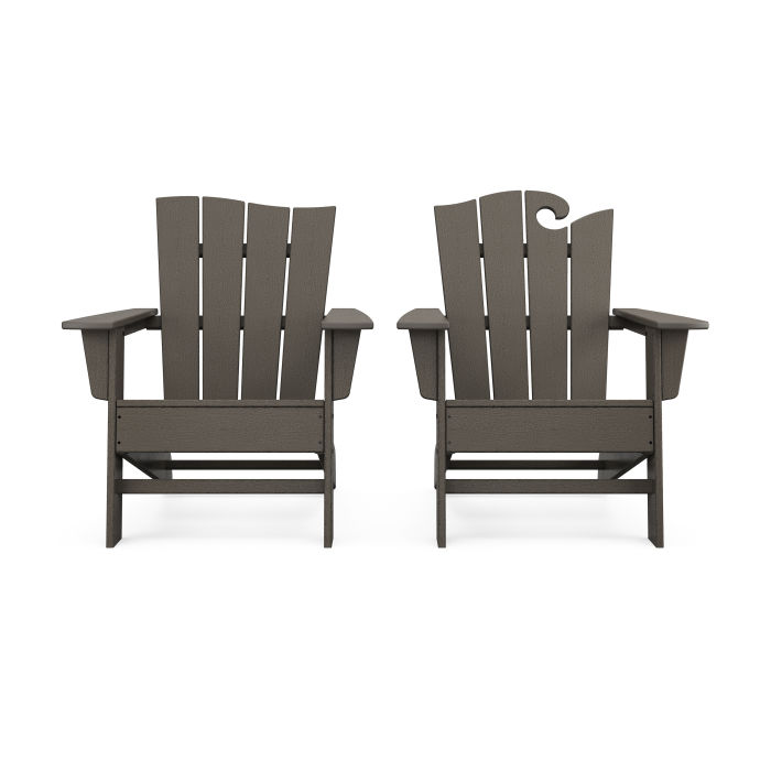 Wave 2-Piece Adirondack Set with The Wave Chair Left in Vintage Finish
