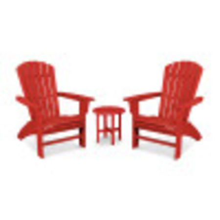Yacht Club 3-Piece Curveback Adirondack Set in Sunset Red