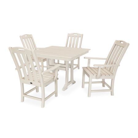 Yacht Club 5-Piece Farmhouse Trestle Arm Chair Dining Set