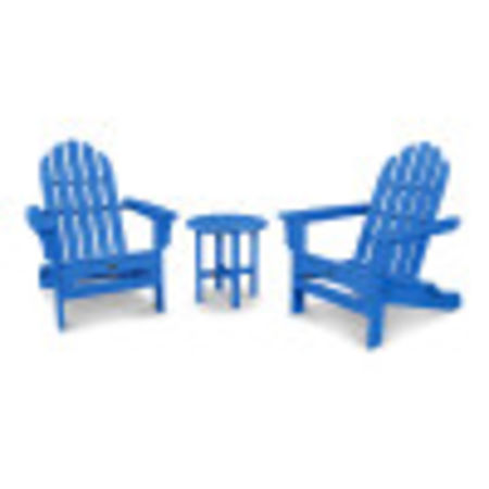 Cape Cod Folding Adirondack Set with Side Table in Pacific Blue
