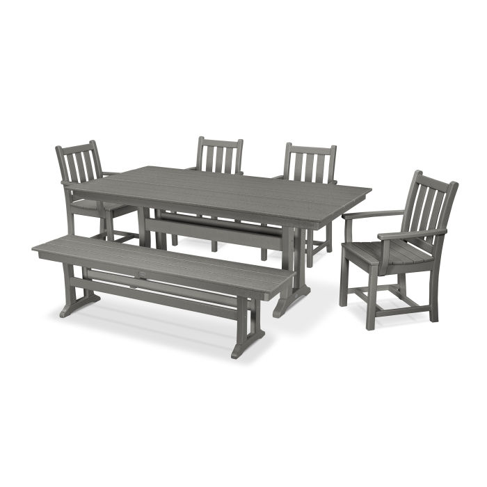 Traditional Garden 6-Piece Farmhouse Trestle Dining Set with Bench