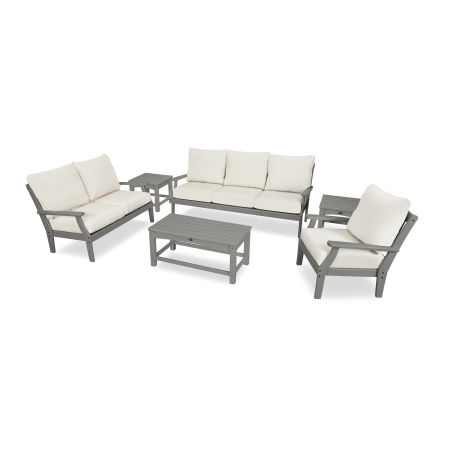 Yacht Club 6-Piece Deep Seating Set in Stepping Stone / Bird's Eye