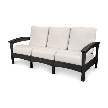 Rockport Club Sofa in Charcoal Black / Bird's Eye