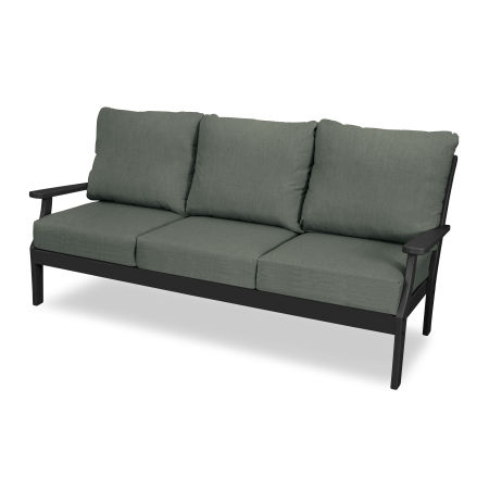 Yacht Club Deep Seating Sofa in Charcoal Black / Cast Sage