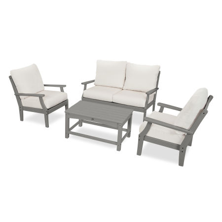 Yacht Club 4-Piece Deep Seating Chair Set in Stepping Stone / Bird's Eye