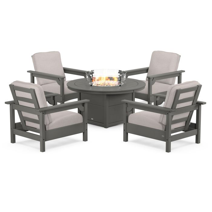 Club 5-Piece Conversation Set with Fire Pit Table