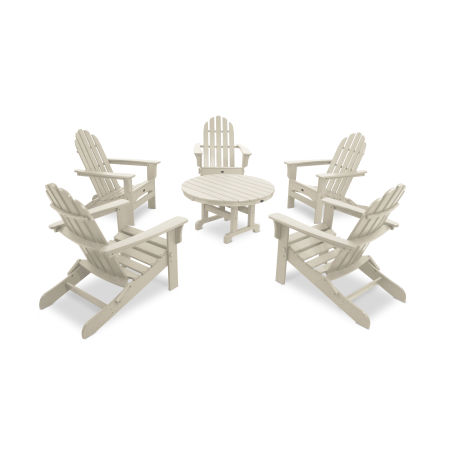 Cape Cod 6-Piece Folding Adirondack Conversation Set in Sand Castle