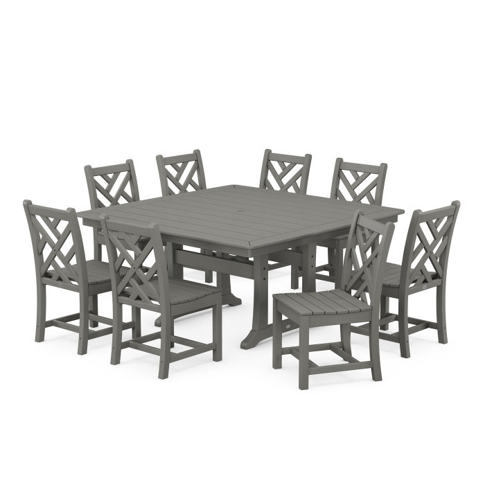 Chippendale 9-Piece Farmhouse Trestle Dining Set