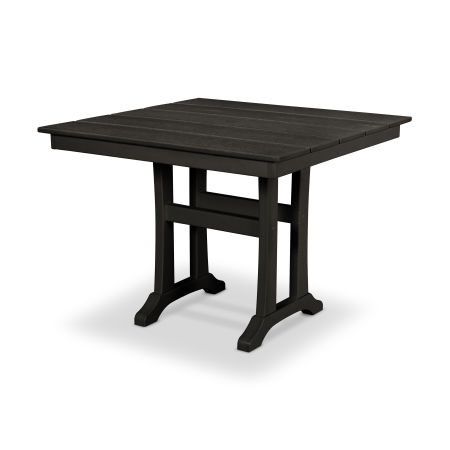 "Farmhouse Trestle 37"" Dining Table in Charcoal Black"