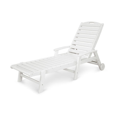Yacht Club Wheeled Chaise in Classic White