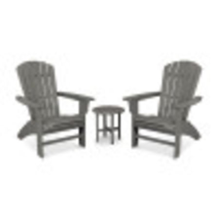 Yacht Club 3-Piece Curveback Adirondack Set in Stepping Stone