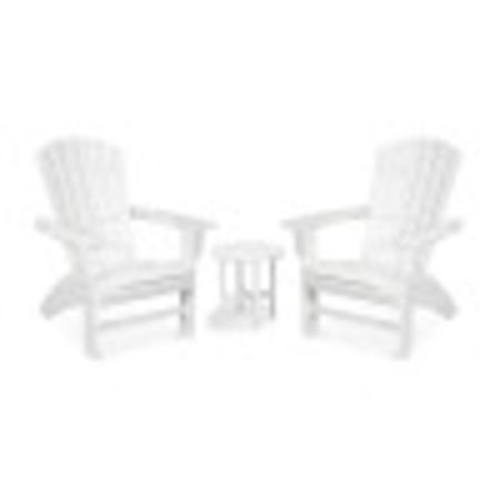 Yacht Club 3-Piece Curveback Adirondack Set in Classic White