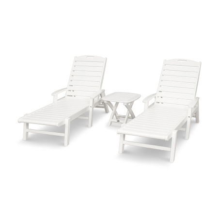 Yacht Club 3-Piece Chaise Set in Classic White