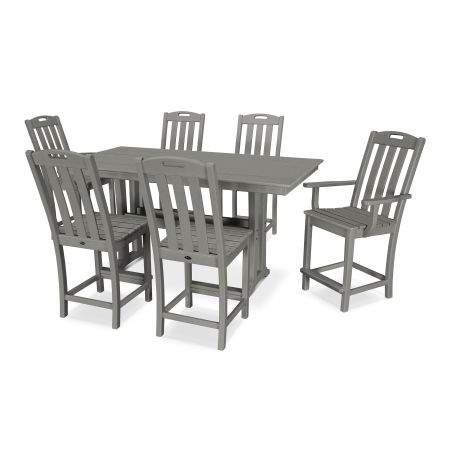 Yacht Club 7-Piece Farmhouse Counter Set in Stepping Stone