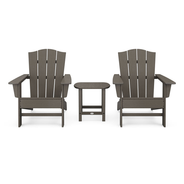 Wave 3-Piece Adirondack Chair Set with The Crest Chairs in Vintage Finish