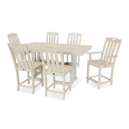 Yacht Club 7-Piece Farmhouse Counter Set in Sand Castle
