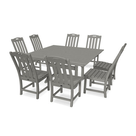 Yacht Club 9-Piece Farmhouse Side Chair Dining Set in Stepping Stone