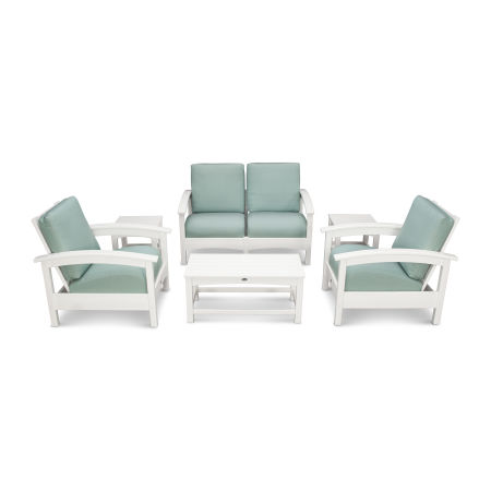 Rockport Club 6 Piece Deep Seating Conversation Set in Classic White / Spa