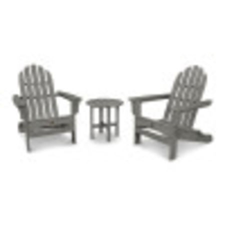 Cape Cod Folding Adirondack Set with Side Table in Stepping Stone