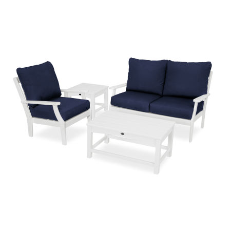 Yacht Club 4-Piece Deep Seating Set in Classic White / Navy