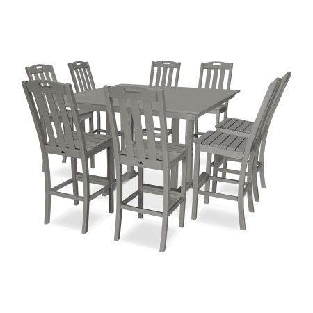 Yacht Club 9-Piece Farmhouse Side Chair Bar Set in Stepping Stone