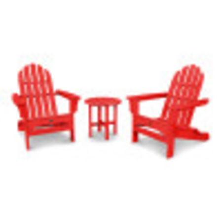 Cape Cod Folding Adirondack Set with Side Table in Sunset Red