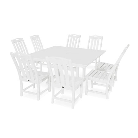 Yacht Club 9-Piece Farmhouse Side Chair Dining Set in Classic White