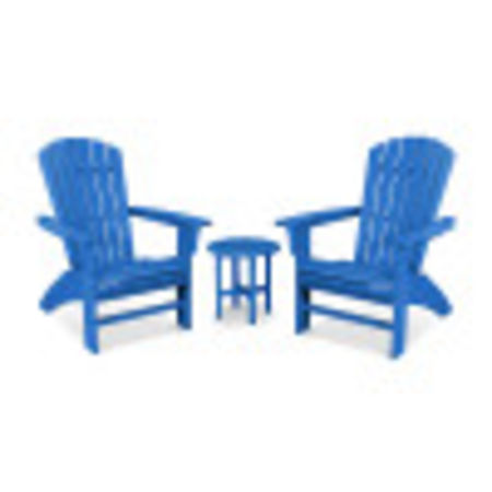 Yacht Club 3-Piece Curveback Adirondack Set in Pacific Blue