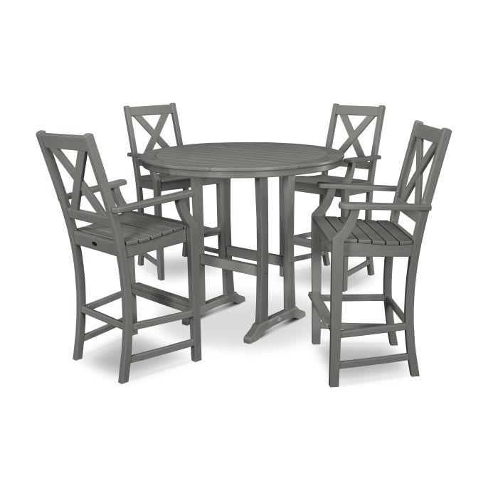 Braxton 5-Piece Nautical Trestle Arm Chair Bar Set