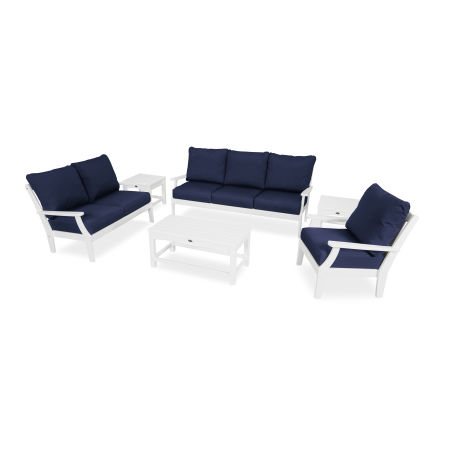Yacht Club 6-Piece Deep Seating Set in Classic White / Navy
