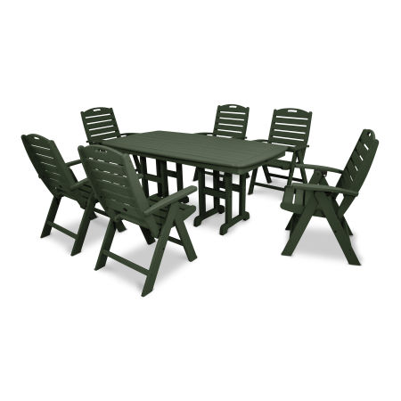 Yacht Club Highback 7-Piece Dining Set in Rainforest Canopy