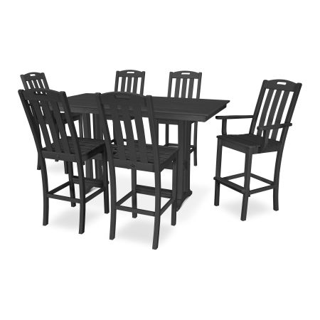 Yacht Club 7-Piece Farmhouse Bar Set in Charcoal Black