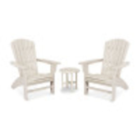 Yacht Club 3-Piece Curveback Adirondack Set in Sand Castle