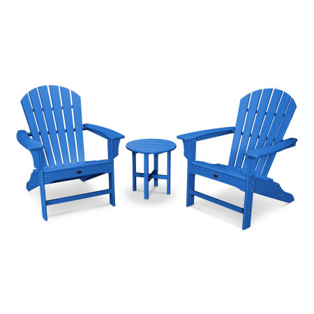 Yacht Club Shellback 3-Piece Adirondack Set in Pacific Blue