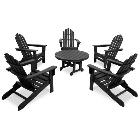 Cape Cod 6-Piece Folding Adirondack Conversation Set in Charcoal Black
