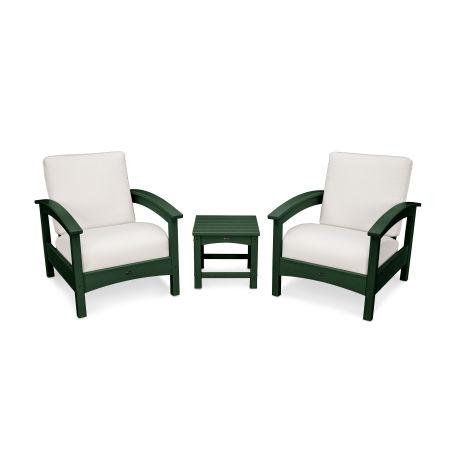 Rockport Club 3 Piece Deep Seating Conversation Set in Rainforest Canopy / Bird's Eye