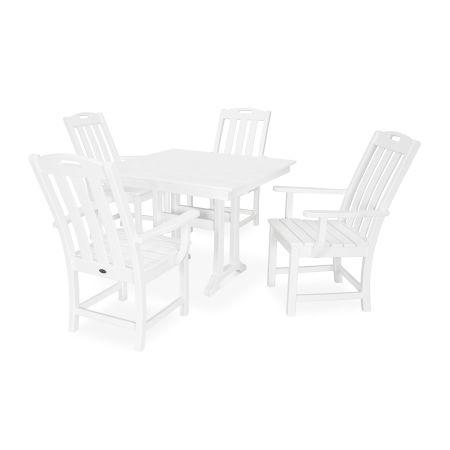 Yacht Club 5-Piece Farmhouse Arm Chair Dining Set in Classic White