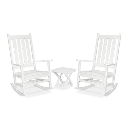 Cape Cod 3-Piece Porch Rocking Chair Set in Classic White