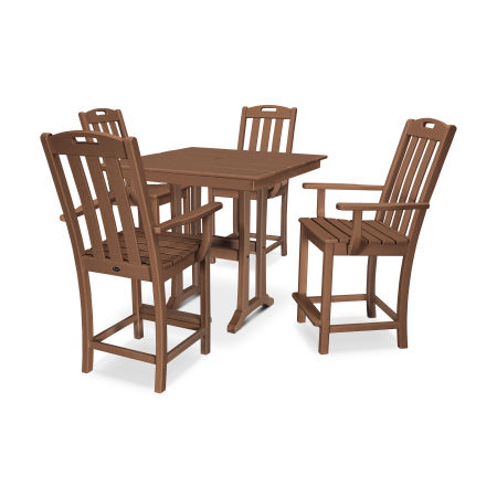 Yacht Club 5-Piece Farmhouse Arm Chair Counter Set in Tree House