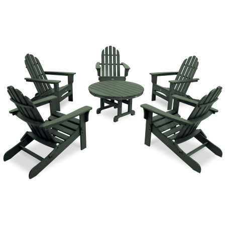 Cape Cod 6-Piece Folding Adirondack Conversation Set in Rainforest Canopy