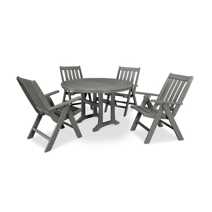Vineyard 5-Piece Nautical Trestle Folding Dining Set
